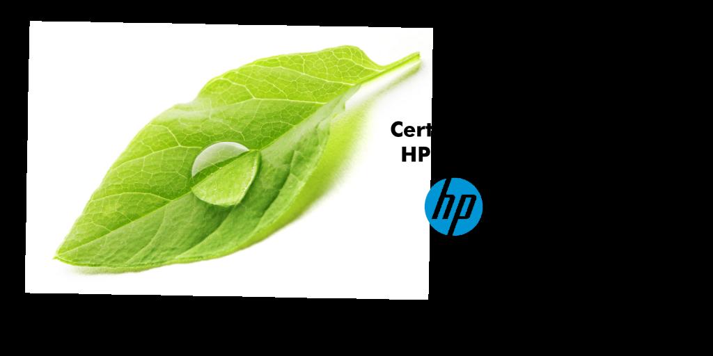 Ein grünes Blatt mit einem Wassertropfen und dem Schriftzug: HP Zertifiziert